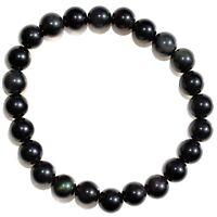 CHARGED Goldsheen Rainbow Obsidian Crystal 8mm Stretchy Bracelet +Selenite Heart