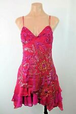 Marciano by GUESS Beaded Sequin Floral Ruffle Pink VTG 90s Boho Silk dress - S