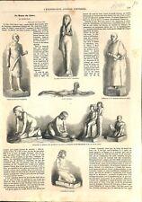 Egypte Musée du Caire Reine Amnésitis Statuettes Calcaire Bois 1861 ILLUSTRATION