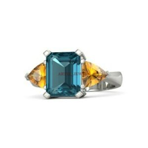 Natural London Blue Topaz & Citrine Gemstone with 925 Sterling Silver Ring #3976
