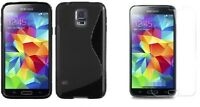 BLACK S-LINE TPU CASE+ SCREEN PROTECTOR FOR STRAIGHT TALK SAMSUNG GALAXY S5