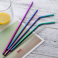 Stainless Steel Metal Drinking Straws Straight/Bent Washable with Brush Newly
