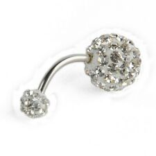 Female Navel Ring Barbell Crystal Rhinestone Belly Button Ball Piercing Jewelry