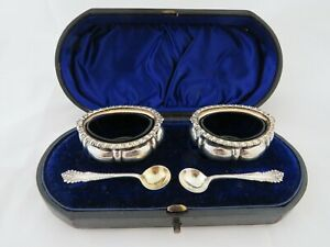 Boxed pair of solid sterling silver salts