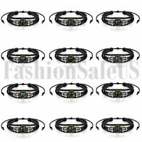 Vintage Handmade Unisex 12 Constellation Zodiac Round Pendant Leather Bracelet
