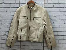 Vintage H & Lewis Cream Leather Motorbike Jacket Size S Retro Leather Jacket