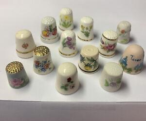 Thimbles (13) porcelin & ceramic flowers floral thimble