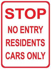 STOP NO ENTRY RESIDENTS CARS ONLY - METAL SIGN - 300 X 225MM - TENANT PARKING