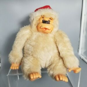 "9"" Russ Vtg Conga Santa Thumb Sucking Cream Gorilla Plush Stuffed Toy Christmas"