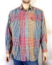 vtg 90s Tommy Hilfiger men's Loud Colorblock Flannel Button Down Shirt sz L