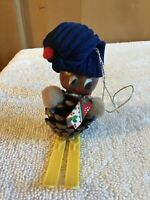 WOW! Vintage ChristmasTree Ornament RUSTIC PINECONE Decoration Skiing CUTE NUT!