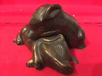 VTG Adorable Pair Of Bronze Sleeping Nestled Piglet Pig Piggy Figurine Sculpture