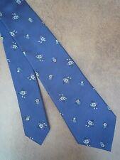 Paul Smith 100% Seide Dunkelblau Floral Krawatte Made in Italy