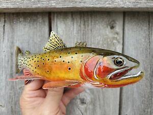 JOHN PUSUSTA COLORADO RIVER CUTTHROAT TROUT FISH DECOY WOOD FLY FISHING SPEAR