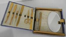 Vintage Womens Grooming Vanity Set Purple Velvet Case Bates Creation Nails Comb