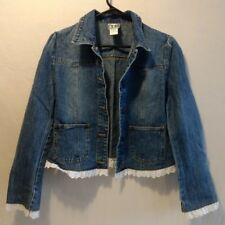 Girls size 4 CLIO Denim Jean Jacket With White Lace Edging