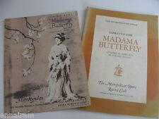 Opera Libretto &Ad Madama Butterfly Puccini 1957 Metropolitan Opera Record Club