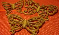 Lot (3) Home Interior HOMECO Brown Wicker-Look Butterfly Wall Accent Plaques 352