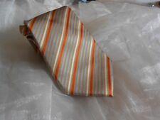 KR1996 Enrico Mori Krawatte 100% Seide Beigegold Rost Hellblau Weiß gestreift