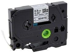 """Brother HSe221 Shrink Tube 3/16"""" Black on White - For PT-E300, PT-E500, PT-E550W"""