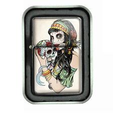 Windproof Refillable Oil Lighter Tin Box Skull D1 Sugar Skull Day of the Dead