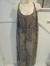 LILLY & LOU NWT SIZE 24 BROWN PATTERN LINED LONG DRESS