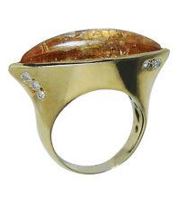 Vintage Amber Diamond 18K Gold Ring Designer Signed Estate Jewelry