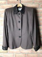 Kasper For ASL Womens Brown Blazer Jacket With Black Trim Wear To Work Size 8