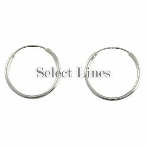 Sterling Silver 16mm Endless Hoop Earrings Round Genuine Solid .925 Jewelry