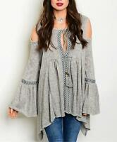 Boho Bohemian Gypsy Bell Sleeve Shark Bite Oversize Sweater Tunic Top S M L XL