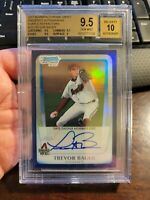2011 Bowman Chrome Draft Auto Trevor Bauer Purple /10 Refractor BGS 9.5 10