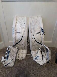 Reebok Premier III pro 35+3 pads, glove and blocker. White/ royal blue.