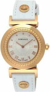 VERSACE Vanity Rose Gold Tone Case White Leather Women's Watch P5Q80D001S001