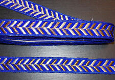 1m 27mm royal blue jacquard embroidered ribbon lace applique trimming decor