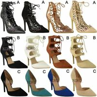Womens Ladies High Heels Ankle Strappy Sandals Peep Toe Party Court Shoes Size