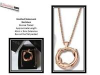 Avon Knotted Statement Necklace & Large Pendant~BOLD ROSE GOLD~Brand New in Box