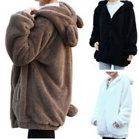Loose Lady Girl Winter Warm CUTE Teddy Bear Ear Coat Hoodie Jacket Outerwear#Top