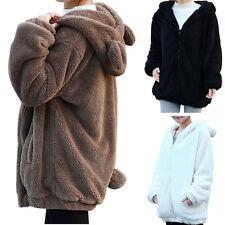 Women's Winter Warm Fluffy Bear Ear Hoodie Hooded Jacket Coat Outerwear Overcoat