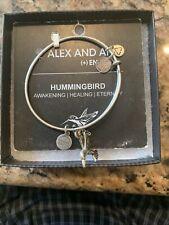 Alex & Ani HUMMINGBIRD Russian Silver Charm Bangle New  USA Made