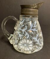 Antique Northwood Daisy and Fern Opalescent Syrup Pitcher ~ EAPG