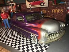 1949 MERCURY MONARCH 2-DOOR COUPE, FORD V8 HOT ROD, ERTL 1:18 PURPLE W/ FLAMES