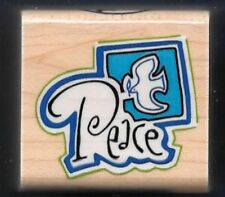 PEACE DOVE Seal Gift Tag Religious Word INKADINKADO 6132Q Craft RUBBER STAMP