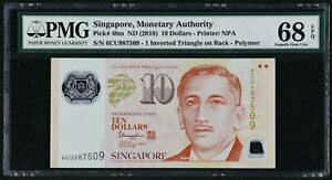 2018 Singapore Monetary Authority 10 Dollars, P-48m, PMG 68 EPQ Superb Gem UNC