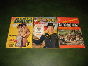 Lot of 3 Vintage Dell TV Comics F-Troop, The Young Rebels, No Time For Sergeants