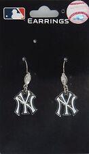 New York Yankees Dangle Earrings (Crystal Bead) MLB Licensed Jewelry