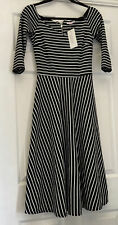 Pretty Kitty fashion Black And White Striped 3/4 Sleeve Sweetheart Fit And Flare