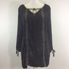 POL Womens Shirt Black Mineral Washed Cold Shoulder Tie Neck 3/4 Sleeve Medium