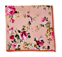 Frederick Thomas pink rose floral cotton pocket square handkerchief FT3399
