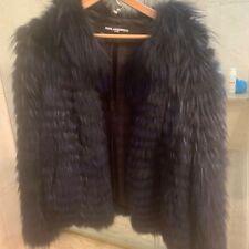 Karl Lagerfeld Navy Blue Fur Jacket, Size Medium