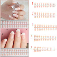 French Natural False Nail Tips Manicure Tool Fake Nails Classic Light Pink